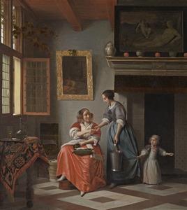 Interieur met een jonge vrouw die een dienstmeid een muntstuk geeft