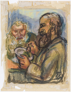 Twee etende mannen met baard