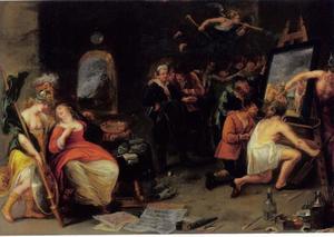 Minerva en Mercurius beschermen de Schilderkunst tgen Onwetendheid en Achterklap