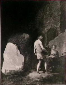 Jonge man en jonge vrouw in een grot