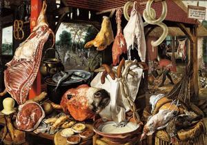 Vleesstal met in de achtergrond de vlucht naar Egypte