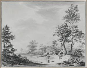 Landschap met drie figuren en een boerderij