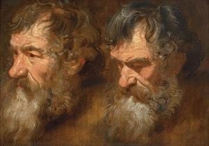 Twee studiekoppen van een oude man