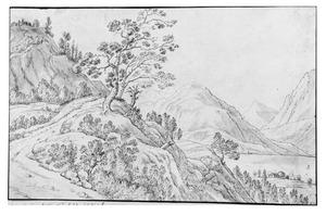 Berglandschap met rivier in vallei