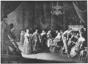 Elegant gezelschap met muzikanten en een dansend paar in een interieur