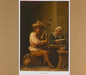 Interieur met een doedelzakspeler en een oude vrouw aan een tafel