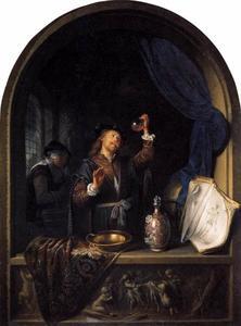 Arts met een urinaal in een venster