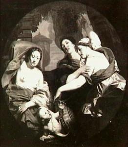 De dochters van Cekrops ontdekken Erechtonius (Ovidius, Metamorphosen II, 553-563)