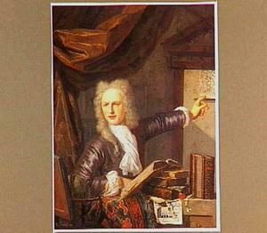 Portret van Gerrit Schoemaker (1692-1736) in zijn studeervertrek