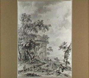 Arcadisch landschap met figuren bij een tempel