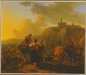 Zuidelijk berglandschap met herders en vee