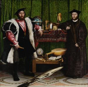 Portret van Jean de Dinteville (1504-1555) en Georges de Selve (1508-1541) (De ambassadeurs)