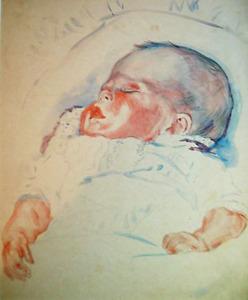 Slapende baby in wieg