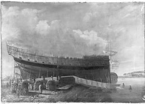 """Het oorlogsschip """"Hercules"""" op stapel op de werf van J. Spaan te Dordrecht in 1782"""