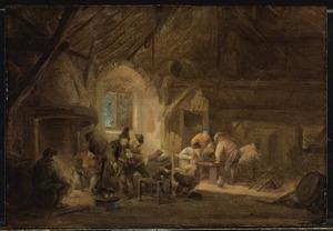 Drinkende en triktakkende boeren in een interieur