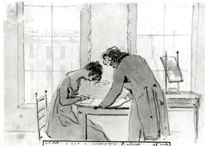 Eerste tekenles aan Mejuffrouw E. Hope