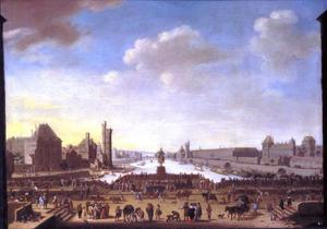Gezicht vanaf de Pont-Neuf in Parijs, links de Tour de Nesle, rechts het Louvre