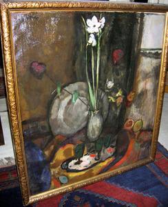 Stilleven met bloemen, fruit en wijnglazen voor venster