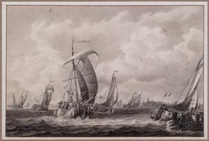 Aankomst van een transport Franse soldaten in de haven van Bergen op Zoom