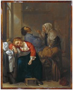 Slapend paar en een dienstmeid in een interieur