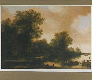 Rivierlandschap met enkele huizen en een houten brug