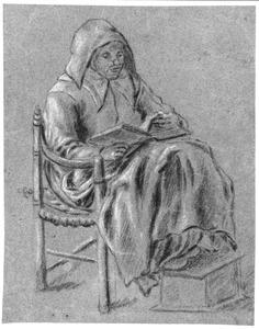Zittende lezende vrouw