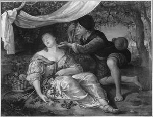 Een jonge herder bewondert een slapende jonge vrouw in een landschap