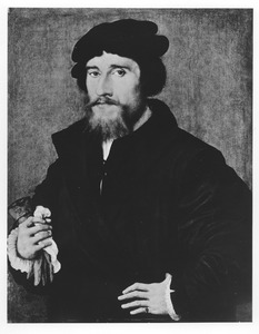 Portret van een man met een handschoen in zijn hand