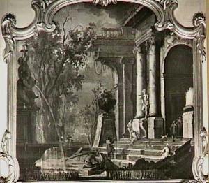 Italianiserend landschap met ruïnes en fontein
