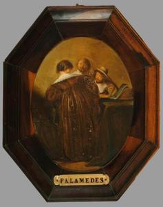 Interieur met drie figuren