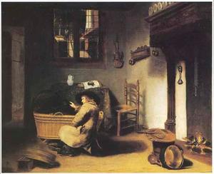 Interieur met een jongen naast een wieg