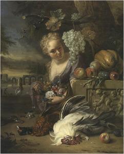 Jonge vrouw met bloemen bij een stilleven van fruit en gevogelte in een landschap