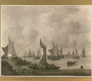 Gezicht op Dordrecht met op de voorgrond een veerpont