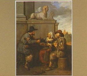 Etende en drinkende boeren bij een standbeeld