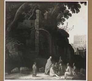 Zuidelijk landschap met zigeuners bij een ruïne; op de achtergrond het Colosseum