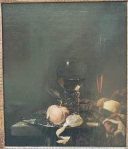 Stilleven met roemer, fluitglas en vruchten