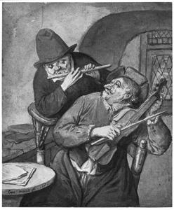 Violist en fluitist musicerend in interieur