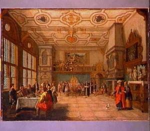 Interieur met voorstelling van de rijke man en de arme Lazarus (Lucas 16:19-31)