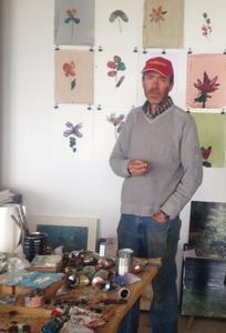 Portret van Willem Sanders in zijn atelier in Monesiglio (Italië)