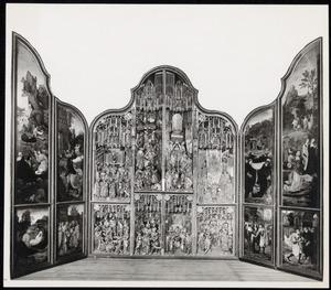Scènes uit het leven van de H. Jacobus de Meerdere (binnenzijde linkerluik); Scènes uit het leven van de HH. Jacobus de Meerdere, Lambertus en Antonius (middendeel); Scènes uit het leven van de H. Antonius (binnenzijde rechterluik)