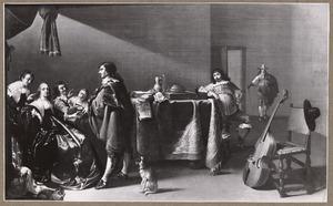 Elegant musicerend en zingend gezelschap in een interieur