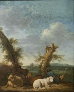 Landschap met slapende herder