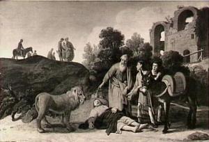 De profeet vindt het lchaam van de ongehoorzame  man Gods, die door een leeuw en een ezel is gedood  (1 Koningen 13:28)