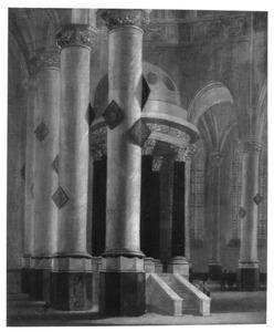 Interieur van een kerk met kerkbezoekers
