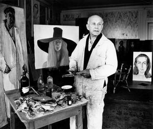 Portret van Paul Citroen in zijn atelier