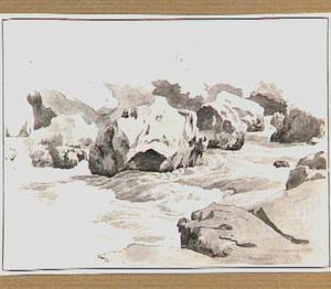 Stroomversnelling met rotsblokken in de omgeving van Tivoli