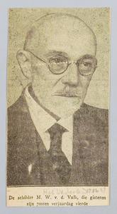 De schilder M.W. van der Valk op zeventigjarige leeftijd