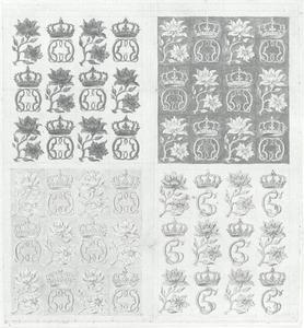 Ontwerpen voor koninklijke monogrammen voor Christiaan V