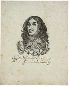 Portret van koning Karel II, gecombineerd met een tijgerkop