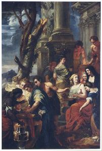 Thetis doopt  Achilles in water van de Styx